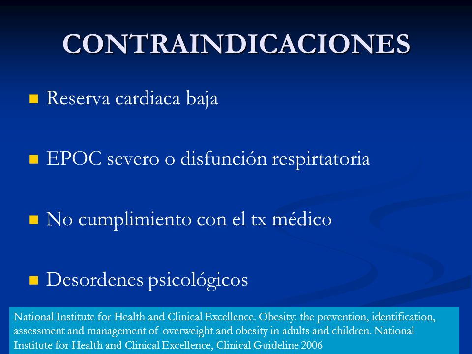 CONTRAINDICACIONES Reserva cardiaca baja