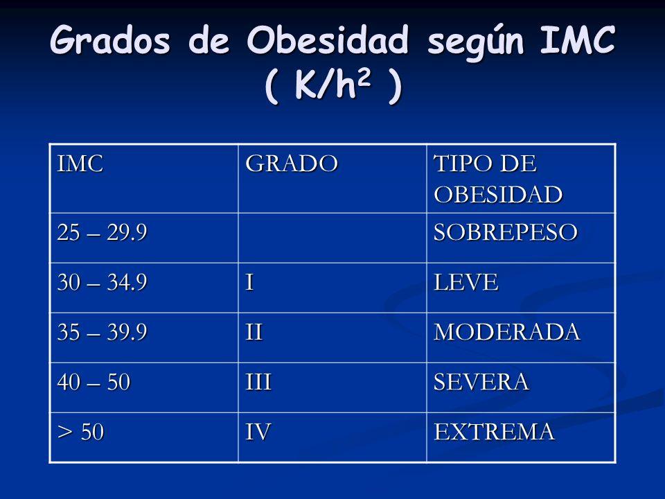 Grados de Obesidad según IMC ( K/h2 )