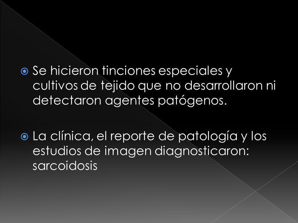 Se hicieron tinciones especiales y cultivos de tejido que no desarrollaron ni detectaron agentes patógenos.