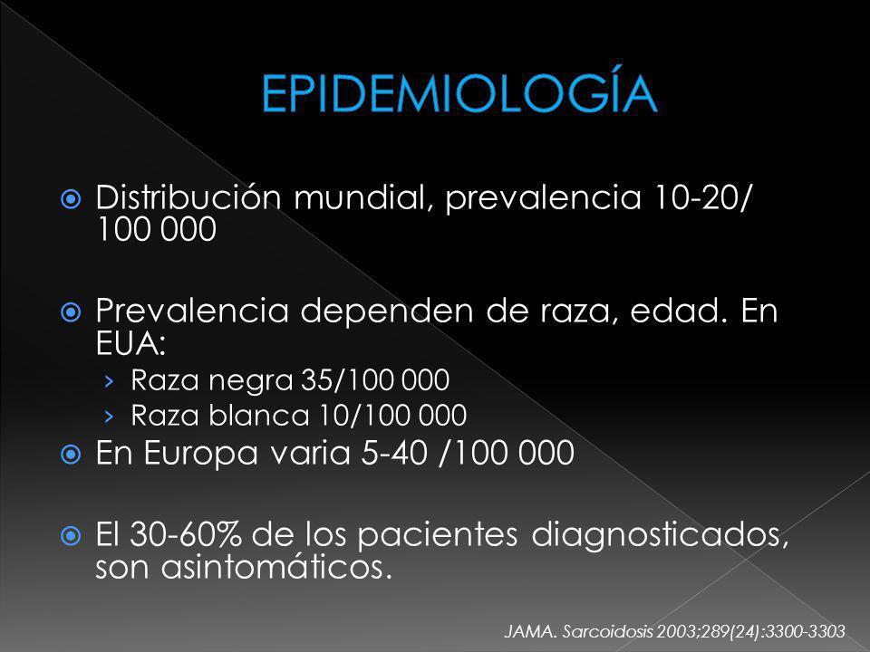EPIDEMIOLOGÍA Distribución mundial, prevalencia 10-20/ 100 000