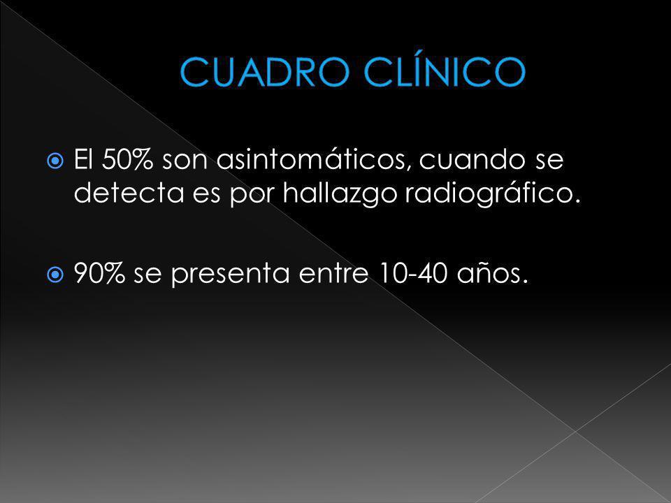CUADRO CLÍNICO El 50% son asintomáticos, cuando se detecta es por hallazgo radiográfico.