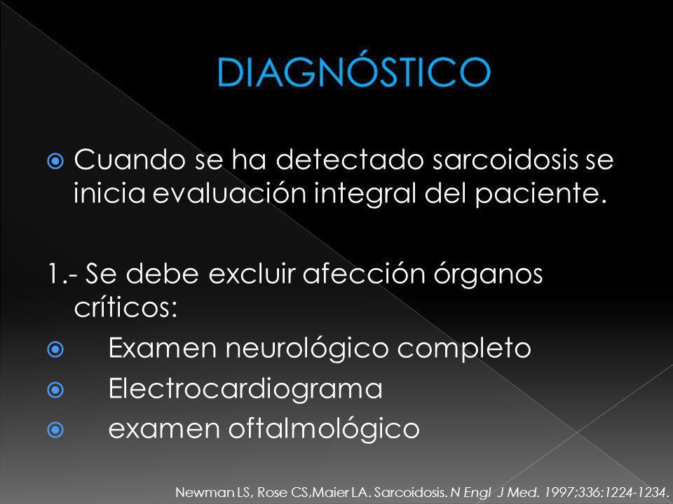 DIAGNÓSTICO Cuando se ha detectado sarcoidosis se inicia evaluación integral del paciente. 1.- Se debe excluir afección órganos críticos: