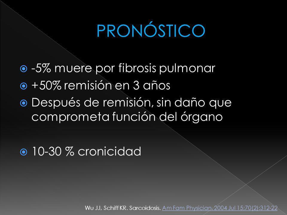 PRONÓSTICO -5% muere por fibrosis pulmonar +50% remisión en 3 años