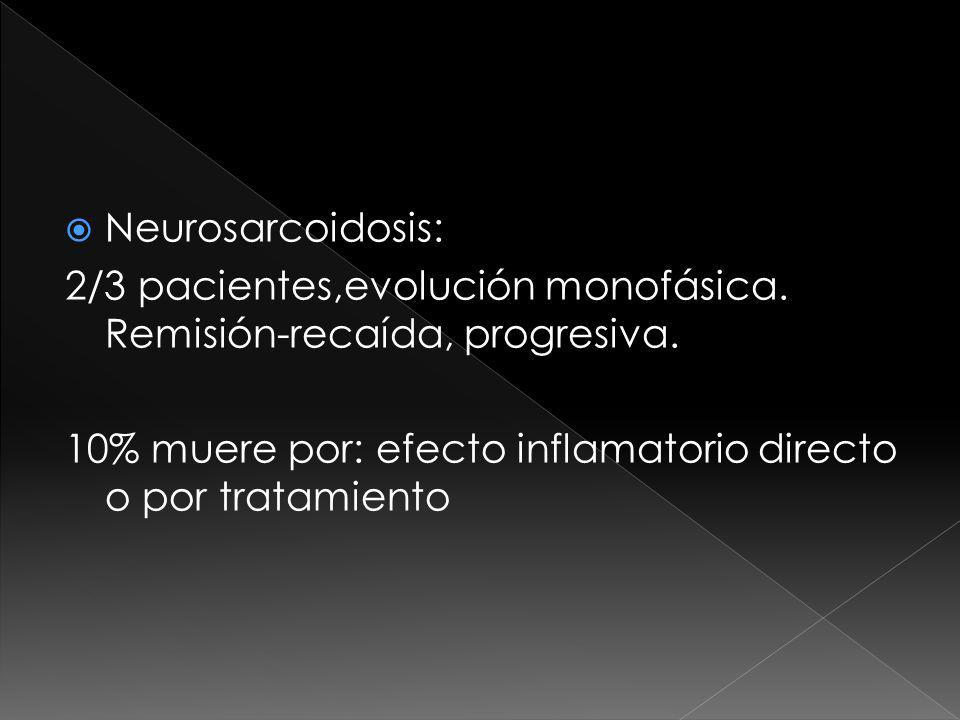 Neurosarcoidosis: 2/3 pacientes,evolución monofásica.