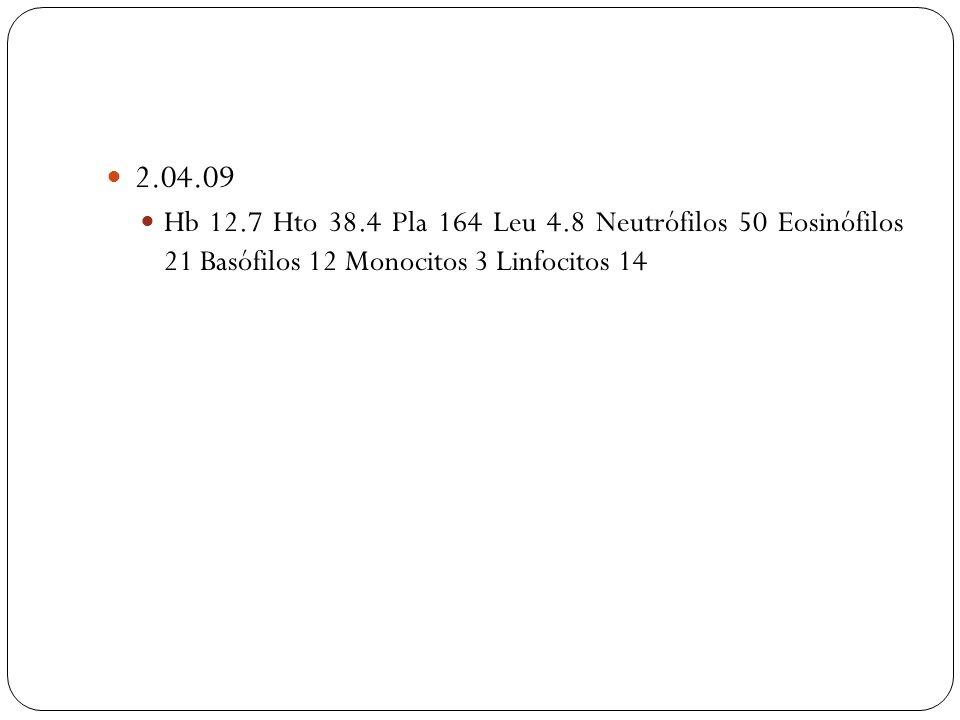 2.04.09 Hb 12.7 Hto 38.4 Pla 164 Leu 4.8 Neutrófilos 50 Eosinófilos 21 Basófilos 12 Monocitos 3 Linfocitos 14.
