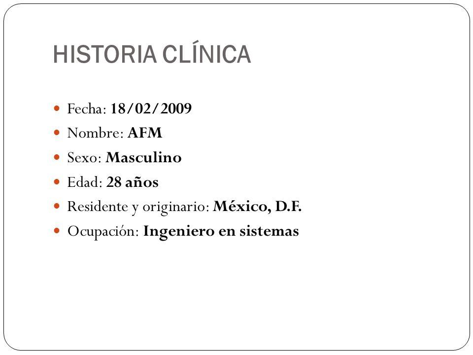 HISTORIA CLÍNICA Fecha: 18/02/2009 Nombre: AFM Sexo: Masculino