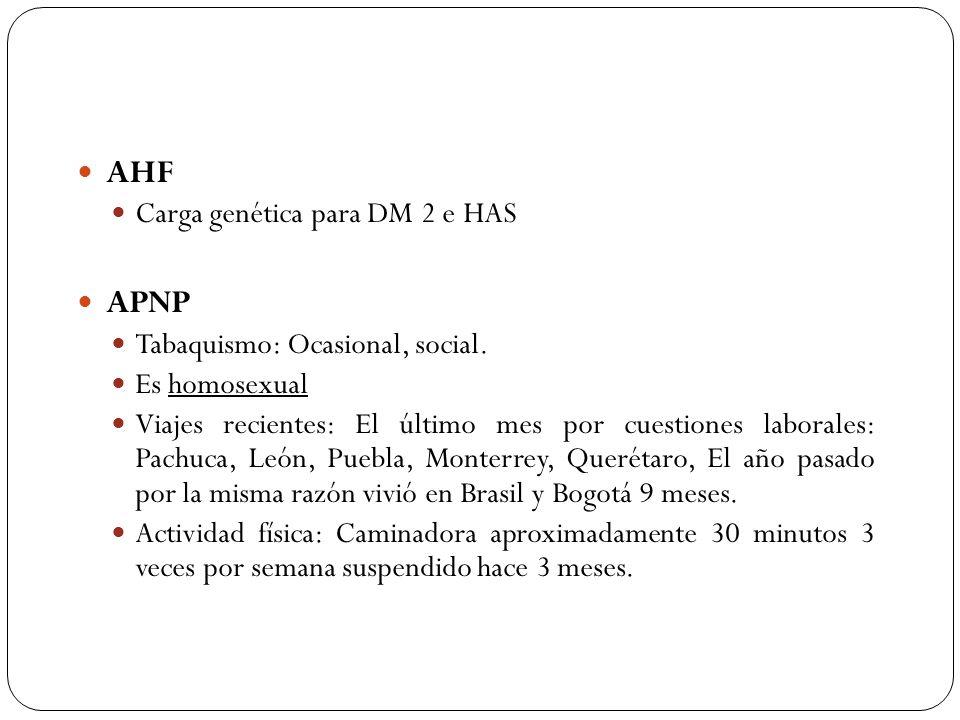 AHF APNP Carga genética para DM 2 e HAS Tabaquismo: Ocasional, social.