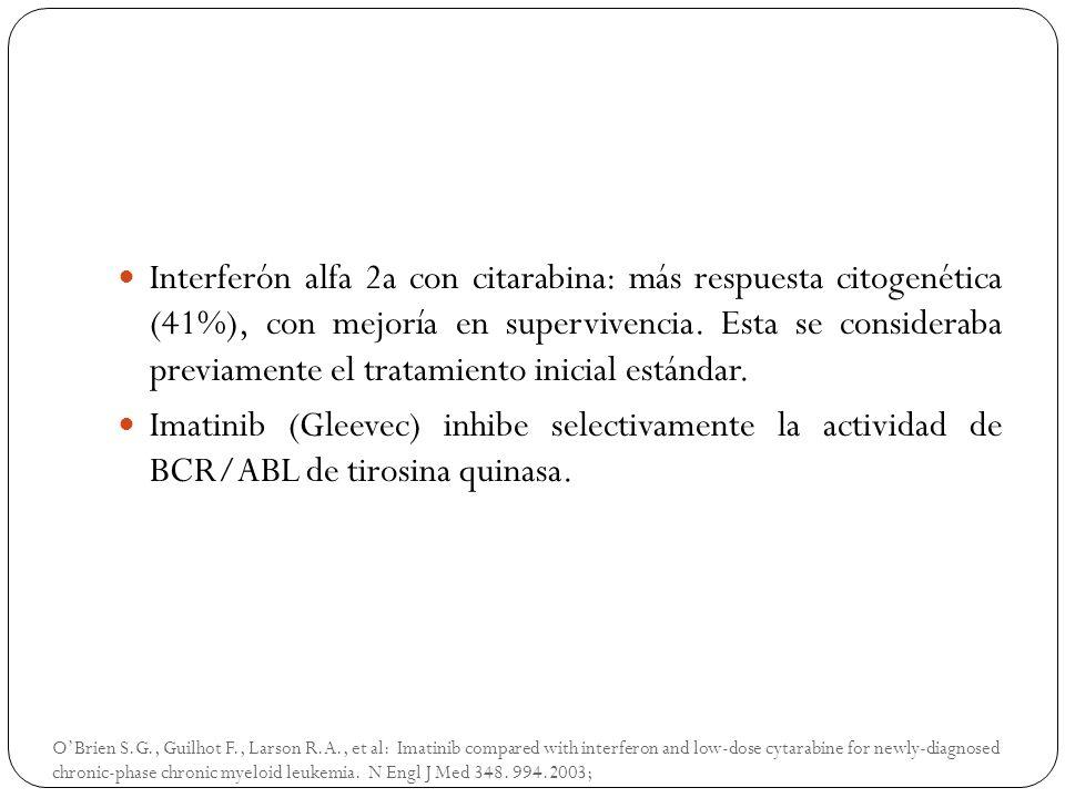 Interferón alfa 2a con citarabina: más respuesta citogenética (41%), con mejoría en supervivencia. Esta se consideraba previamente el tratamiento inicial estándar.