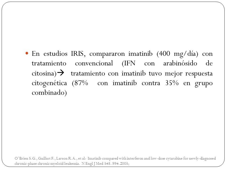 En estudios IRIS, compararon imatinib (400 mg/día) con tratamiento convencional (IFN con arabinósido de citosina) tratamiento con imatinib tuvo mejor respuesta citogenética (87% con imatinib contra 35% en grupo combinado)