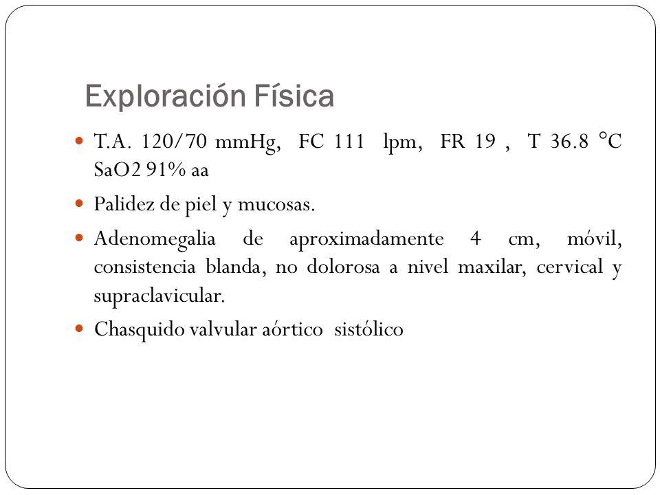 Exploración Física T.A. 120/70 mmHg, FC 111 lpm, FR 19 , T 36.8 °C SaO2 91% aa. Palidez de piel y mucosas.