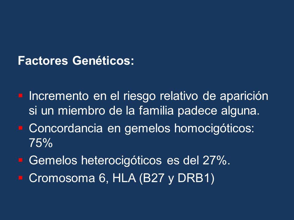 Factores Genéticos: Incremento en el riesgo relativo de aparición si un miembro de la familia padece alguna.