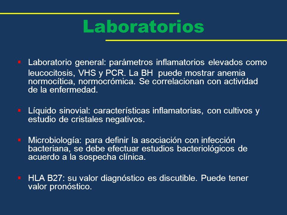 Laboratorios Laboratorio general: parámetros inflamatorios elevados como.
