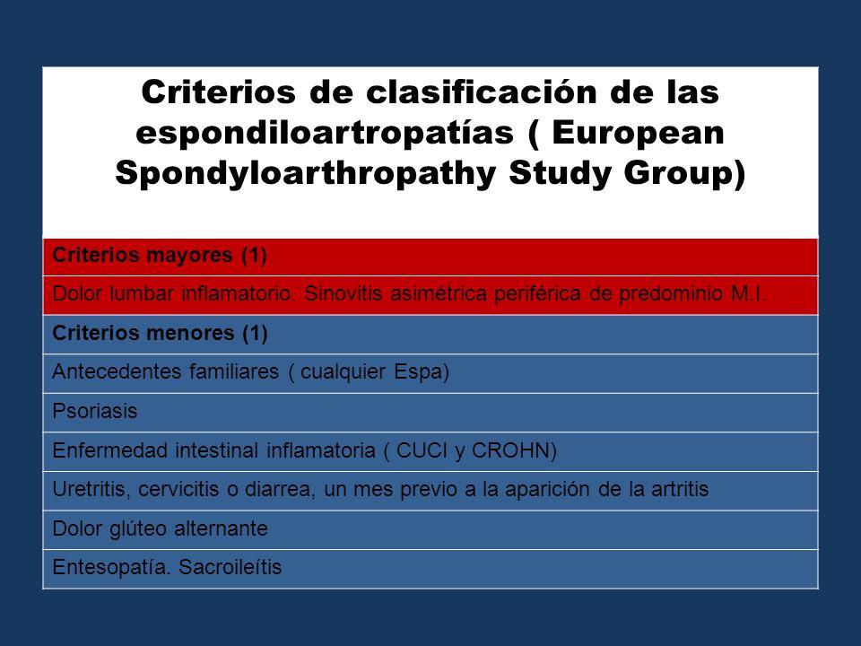 Criterios de clasificación de las espondiloartropatías ( European Spondyloarthropathy Study Group)