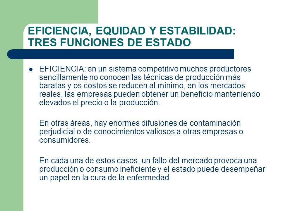 EFICIENCIA, EQUIDAD Y ESTABILIDAD: TRES FUNCIONES DE ESTADO