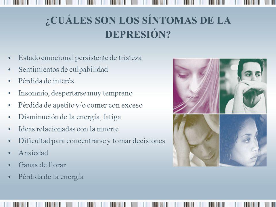 ¿CUÁLES SON LOS SÍNTOMAS DE LA DEPRESIÓN