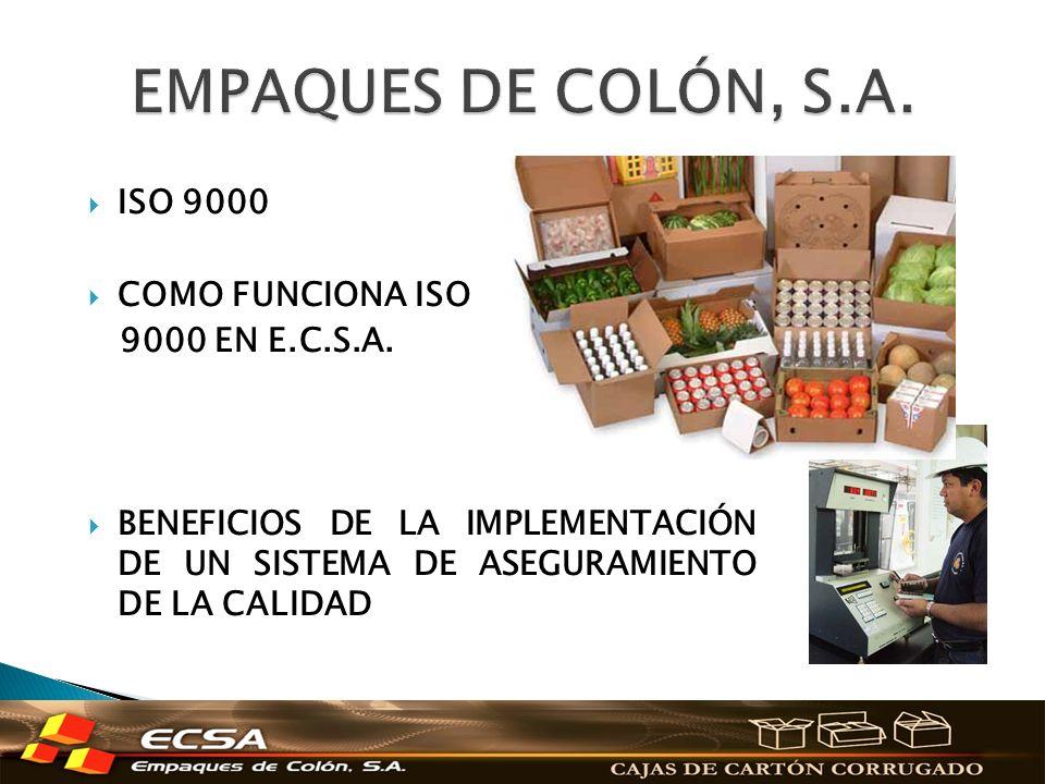 EMPAQUES DE COLÓN, S.A. ISO 9000 COMO FUNCIONA ISO 9000 EN E.C.S.A.