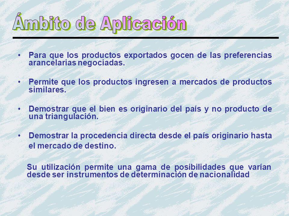 Ámbito de Aplicación Para que los productos exportados gocen de las preferencias arancelarias negociadas.