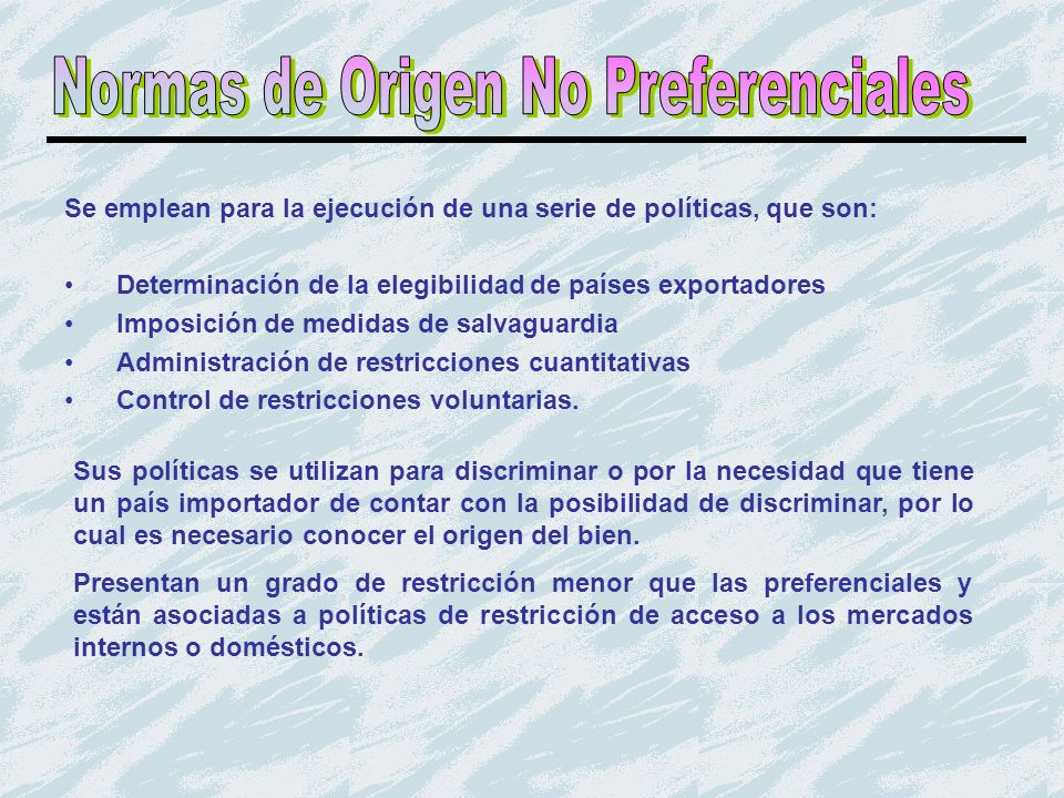 Normas de Origen No Preferenciales