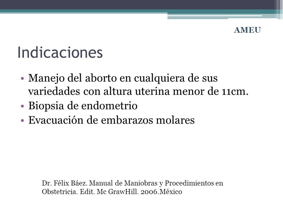 AMEU Indicaciones. Manejo del aborto en cualquiera de sus variedades con altura uterina menor de 11cm.