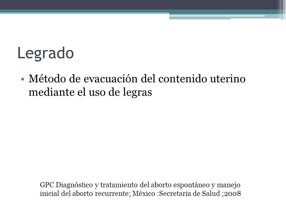 Legrado Método de evacuación del contenido uterino mediante el uso de legras.