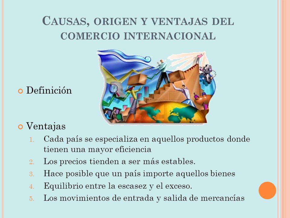 Causas, origen y ventajas del comercio internacional