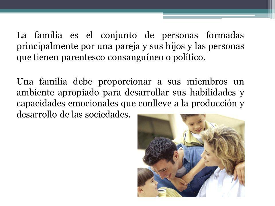 La familia es el conjunto de personas formadas principalmente por una pareja y sus hijos y las personas que tienen parentesco consanguíneo o político.