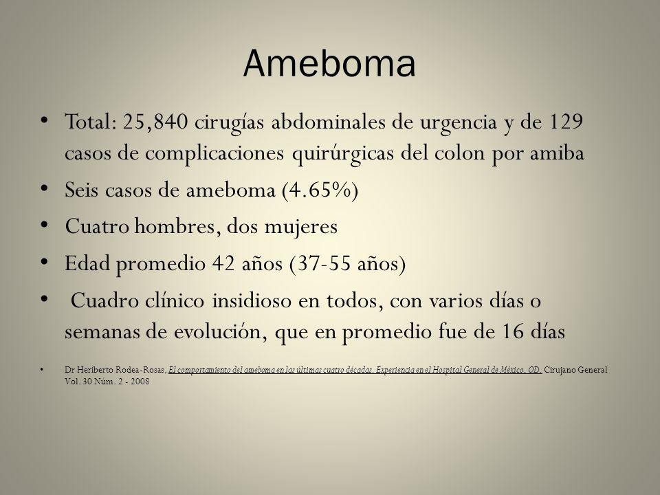 Ameboma Total: 25,840 cirugías abdominales de urgencia y de 129 casos de complicaciones quirúrgicas del colon por amiba.