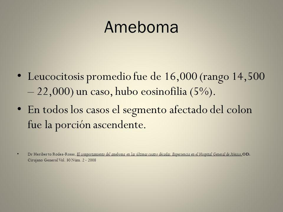 AmebomaLeucocitosis promedio fue de 16,000 (rango 14,500 – 22,000) un caso, hubo eosinofilia (5%).