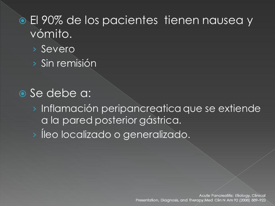 El 90% de los pacientes tienen nausea y vómito.