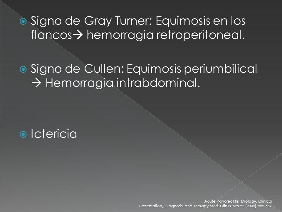 Signo de Cullen: Equimosis periumbilical  Hemorragia intrabdominal.