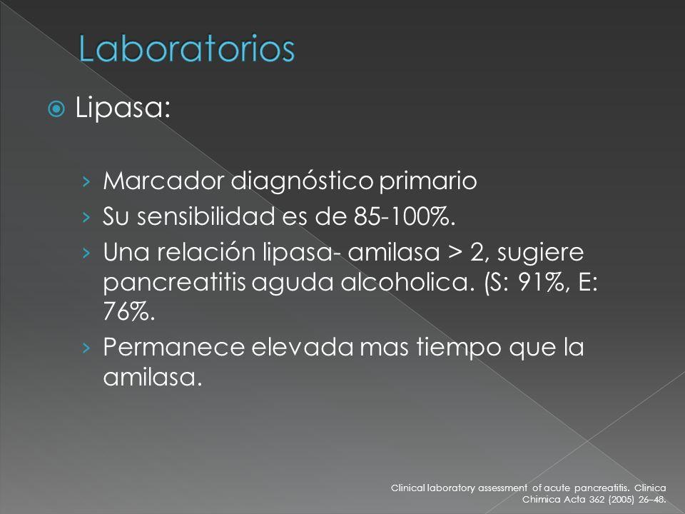 Laboratorios Lipasa: Marcador diagnóstico primario