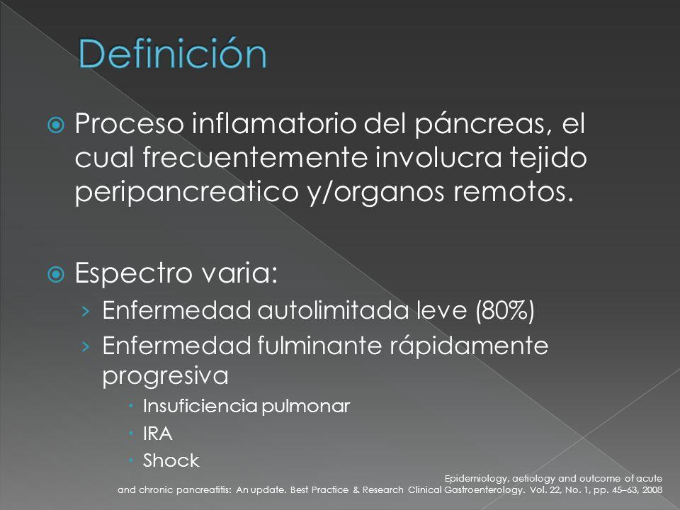 Definición Proceso inflamatorio del páncreas, el cual frecuentemente involucra tejido peripancreatico y/organos remotos.