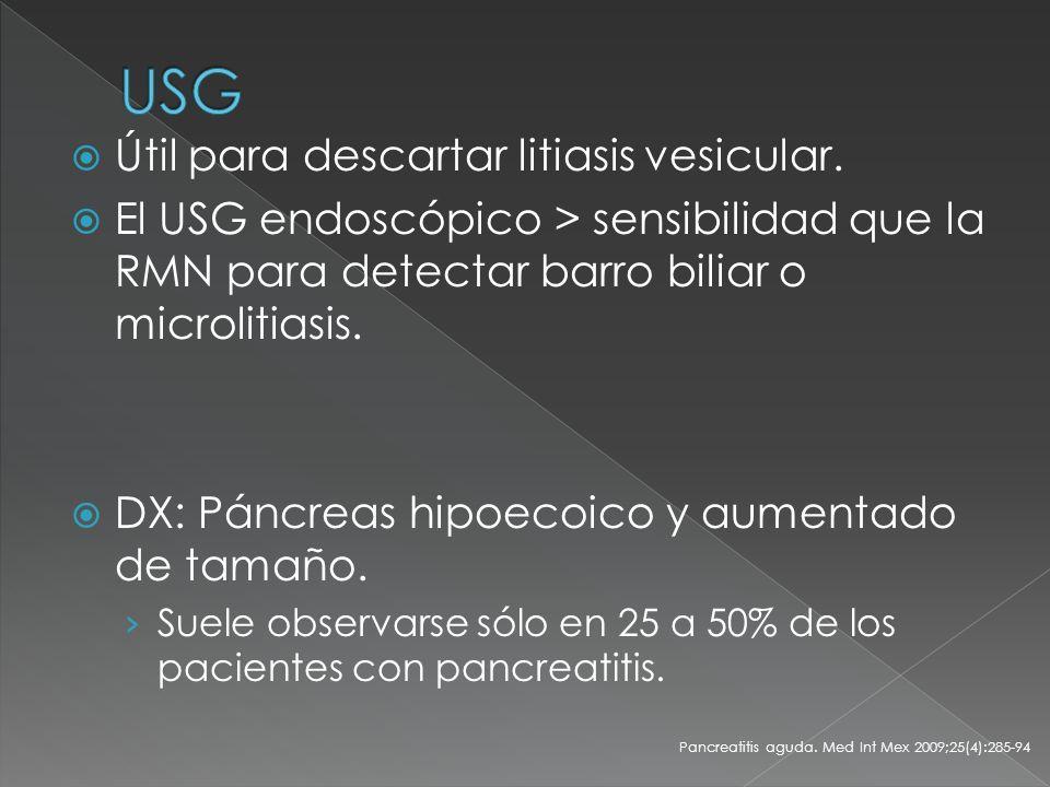 USG Útil para descartar litiasis vesicular.