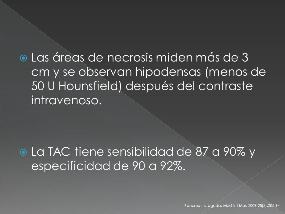 La TAC tiene sensibilidad de 87 a 90% y especificidad de 90 a 92%.