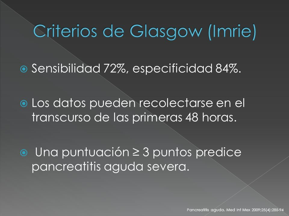 Criterios de Glasgow (Imrie)
