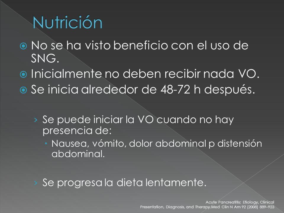 Nutrición No se ha visto beneficio con el uso de SNG.