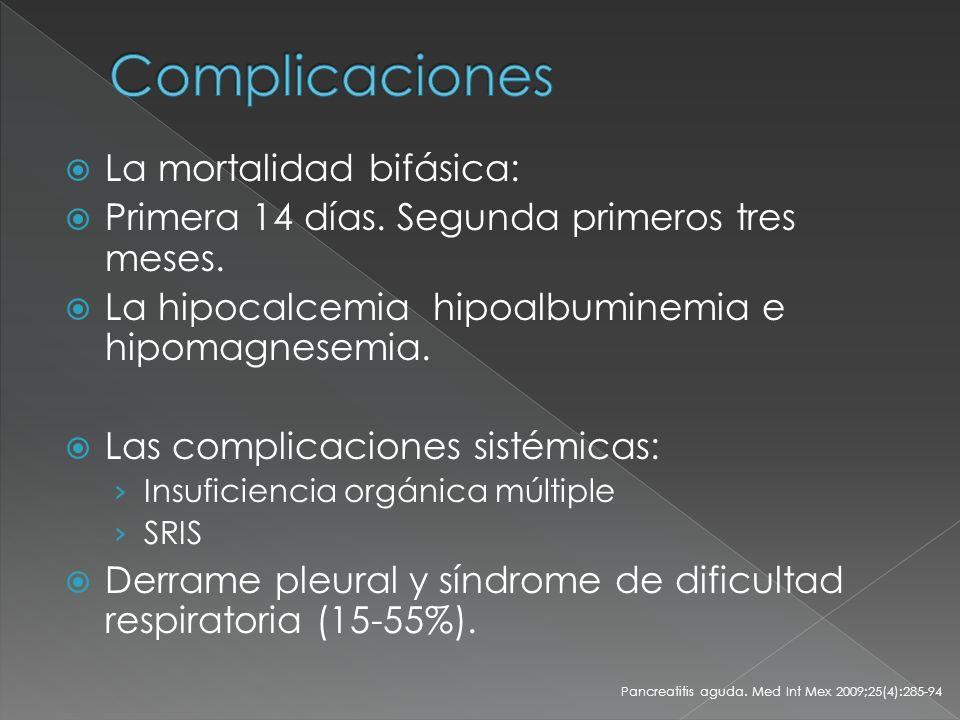 Complicaciones La mortalidad bifásica: