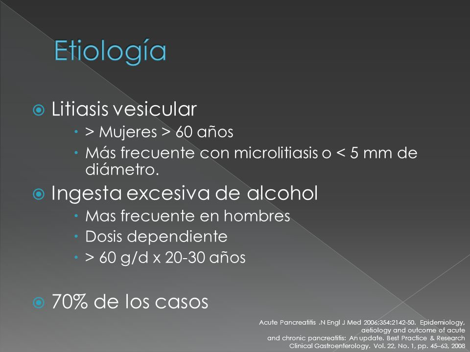Etiología Litiasis vesicular Ingesta excesiva de alcohol