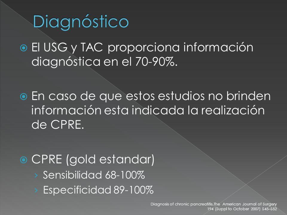Diagnóstico El USG y TAC proporciona información diagnóstica en el 70-90%.