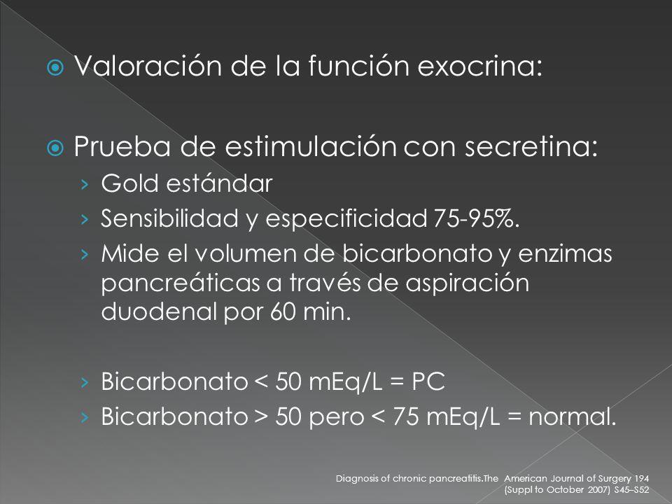 Valoración de la función exocrina:
