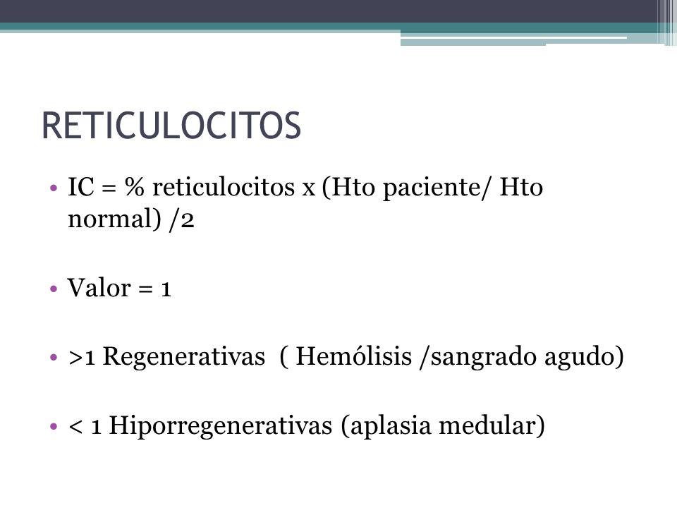 RETICULOCITOS IC = % reticulocitos x (Hto paciente/ Hto normal) /2