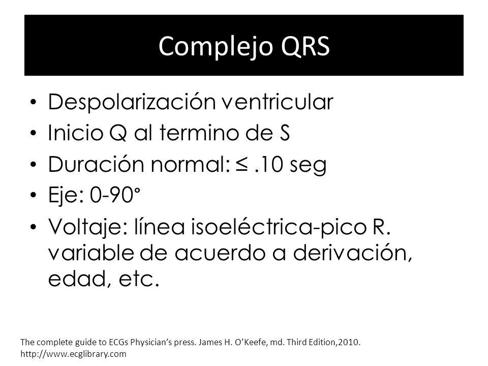 Complejo QRS Despolarización ventricular Inicio Q al termino de S