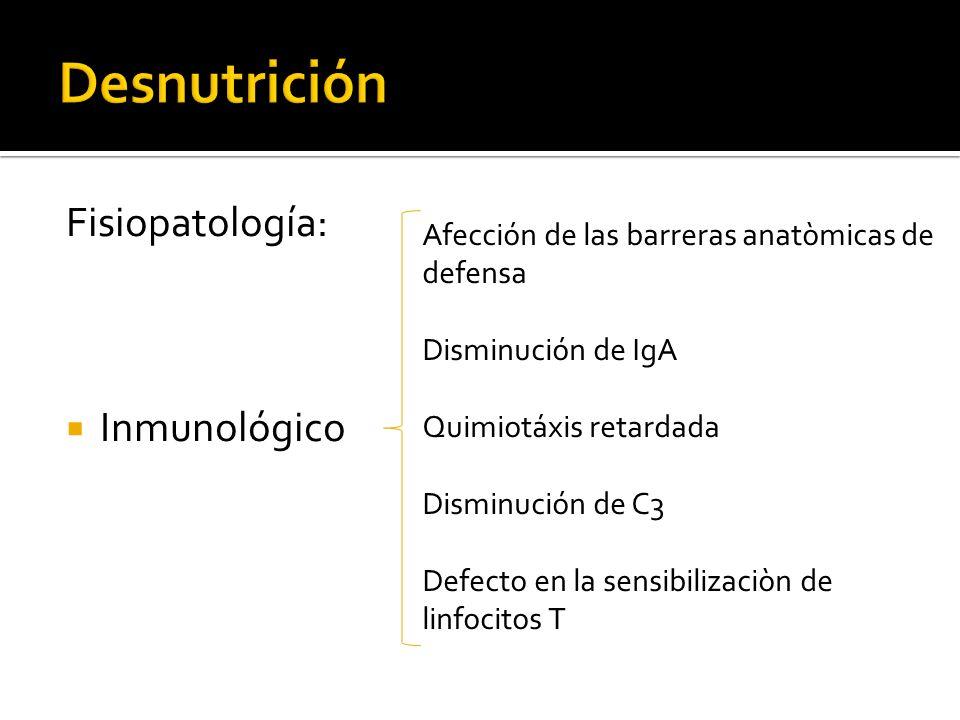 Desnutrición Fisiopatología: Inmunológico