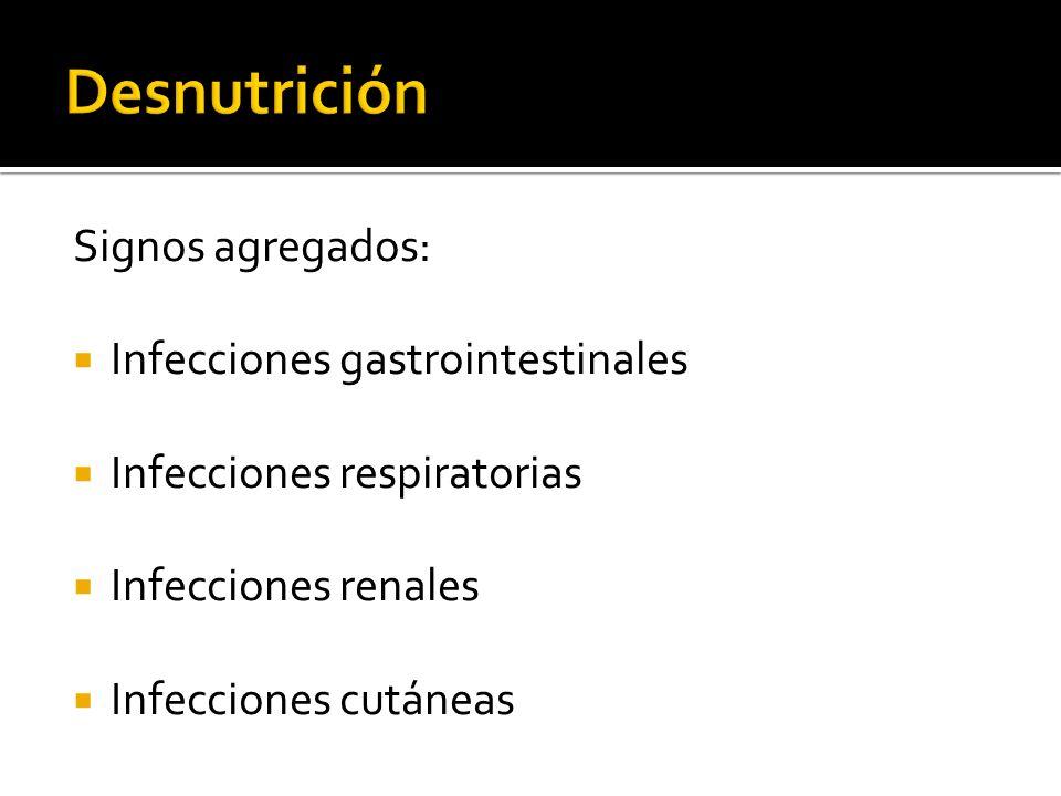 Desnutrición Signos agregados: Infecciones gastrointestinales