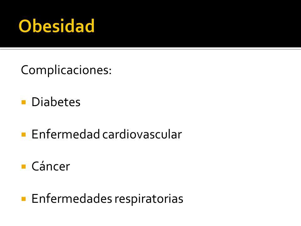 Obesidad Complicaciones: Diabetes Enfermedad cardiovascular Cáncer