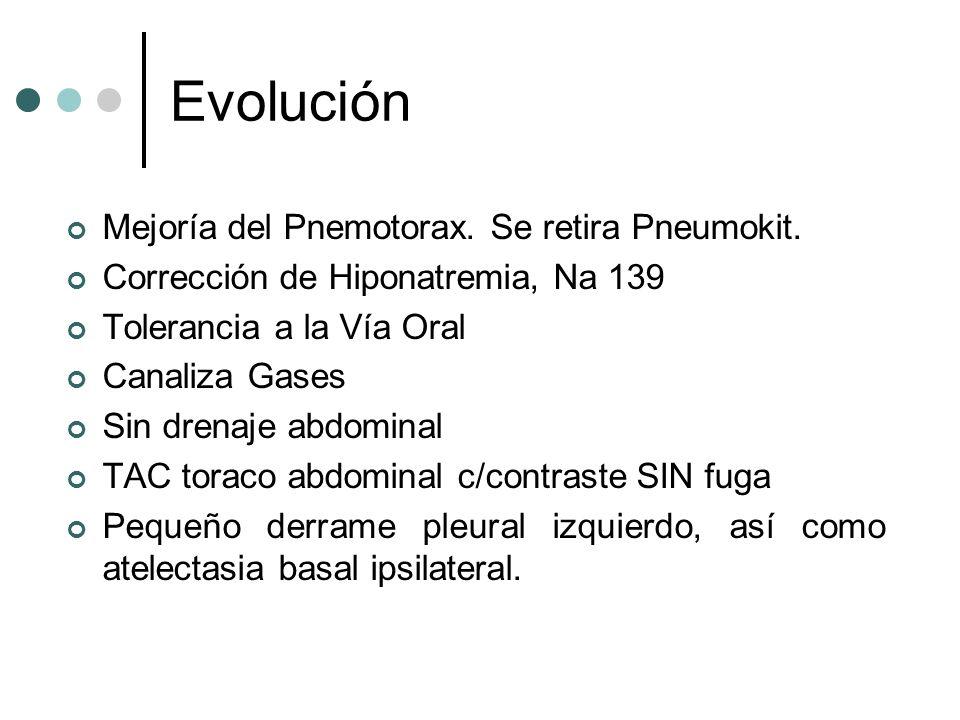 Evolución Mejoría del Pnemotorax. Se retira Pneumokit.