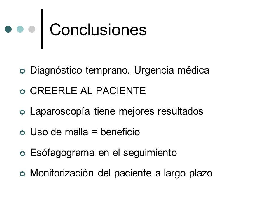 Conclusiones Diagnóstico temprano. Urgencia médica CREERLE AL PACIENTE