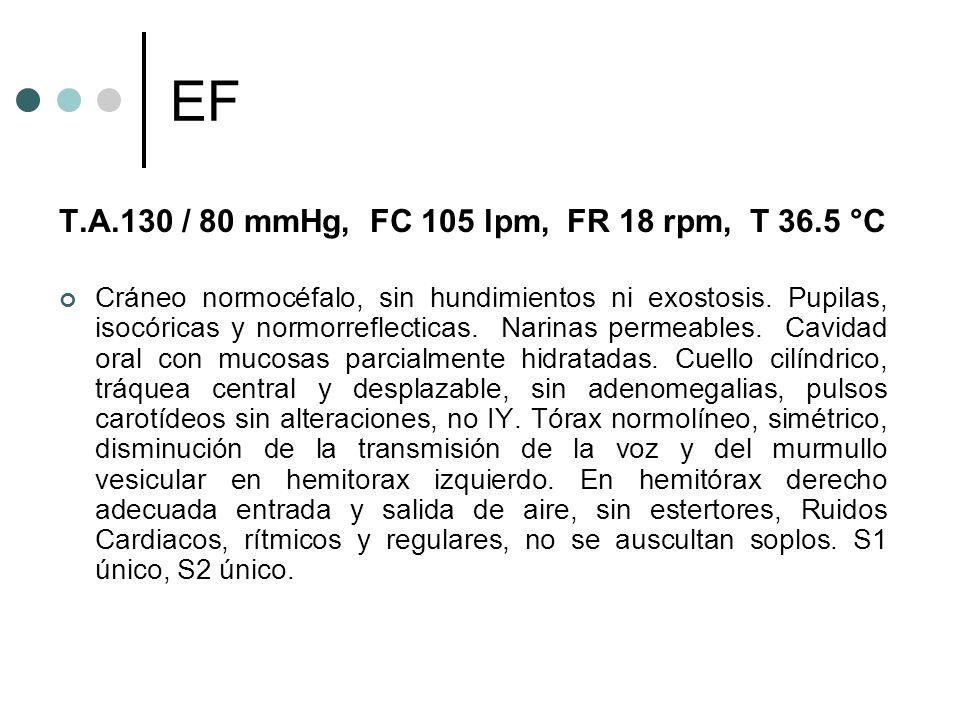 T.A.130 / 80 mmHg, FC 105 lpm, FR 18 rpm, T 36.5 °C