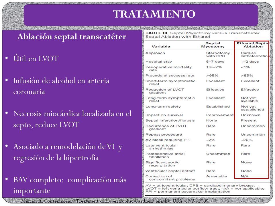 Ablación septal transcatéter