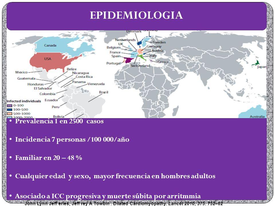 EPIDEMIOLOGIA Prevalencia 1 en 2500 casos